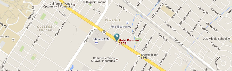 Palo Alto, California Hotel Location Map
